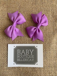Bow Hair Clips Set x2 Lilac
