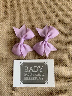 Bow Hair Clips Set x2 Pastel Lilac