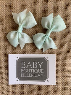 Bow Hair Clips Set x2 Pastel Mint Green