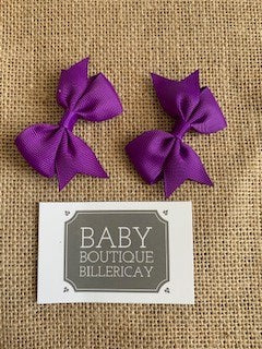 Bow Hair Clips Set x2 Purple