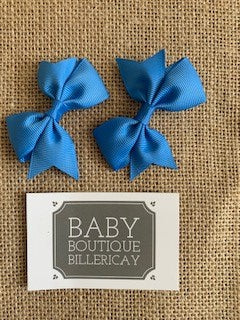 Bow Hair Clips Set x2 Sky Blue