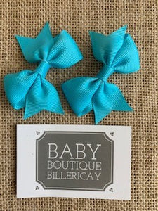 Bow Hair Clips Set x2 Baby Blue