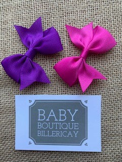 Bow Hair Clips Set x2 Purple Shades