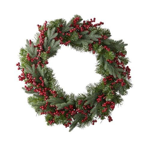 """24"""" SNOWY PINE AND BERRY WREATH - Schmidt Christmas Market Christmas Decoration"""