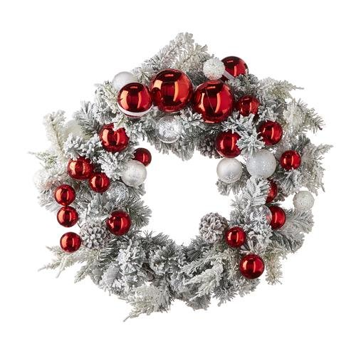"""24"""" SNOWY PINECONE AND ORNAMENT WREATH - Schmidt Christmas Market Christmas Decoration"""