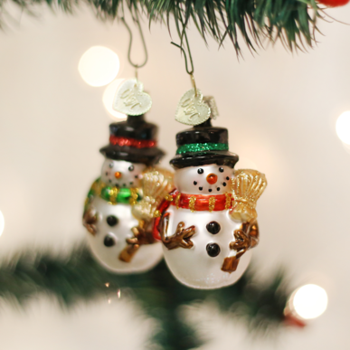 Blown Glass Hanging Miniature Mr. Snowy Set of 2 Christmas Ornament
