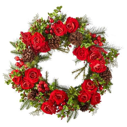 """26"""" MIXED ROSE AND PINE WREATH - Schmidt Christmas Market Christmas Decoration"""