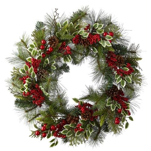 """26"""" PINE AND HOLLY WREATH - Schmidt Christmas Market Christmas Decoration"""