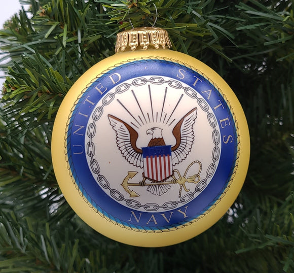 "3 1/4"" Ball with US Navy Logo and Hymn - Schmidt Christmas Market Christmas Decoration"