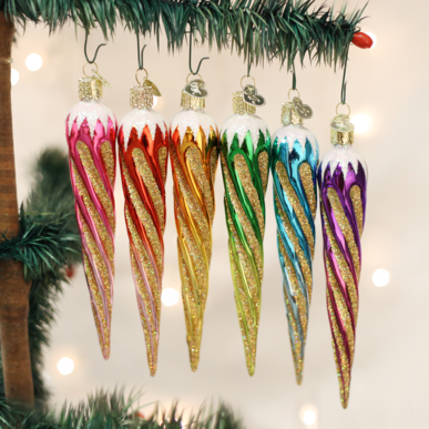 Blown Glass Hanging Shimmering Icicle Christmas Ornament (set)