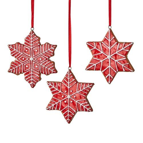"""3.5"""" RED FROSTED GINGERBREAD SNOWFLAKE ORNAMENT set of 3 - Schmidt Christmas Market Christmas Decoration"""