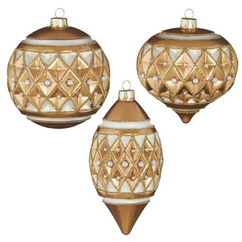 """4"""" GOLD DIAMOND POINT WITH PEARLS ORNAMENT set of 3 - Schmidt Christmas Market Christmas Decoration"""
