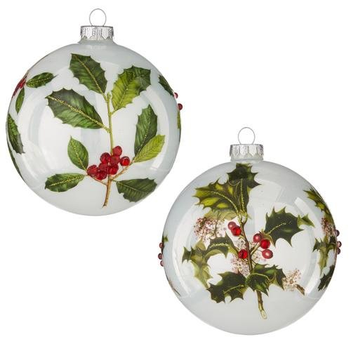 """5"""" HOLIDAY FLORAL JEWELED BALL ORNAMENT set of 2 - Schmidt Christmas Market Christmas Decoration"""