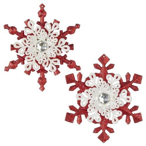 """5.25"""" RED AND WHITE SNOWFLAKE ORNAMENT Set of 2 - Schmidt Christmas Market Christmas Decoration"""