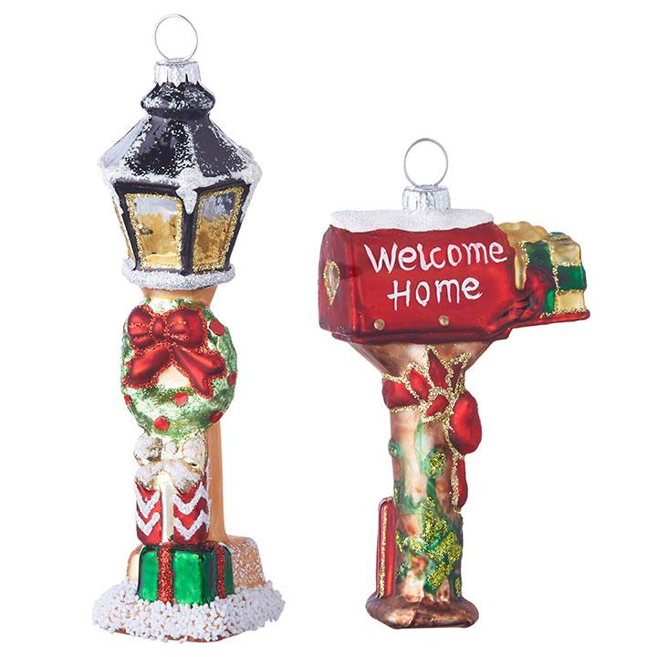 """5.5"""" MAILBOX AND LAMP POST ORNAMENT Set of 2 - Schmidt Christmas Market Christmas Decoration"""