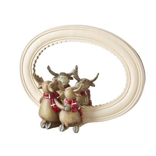 """7.5"""" MOOSE WITH SCARF MIRRORED DECOR - Schmidt Christmas Market Christmas Decoration"""