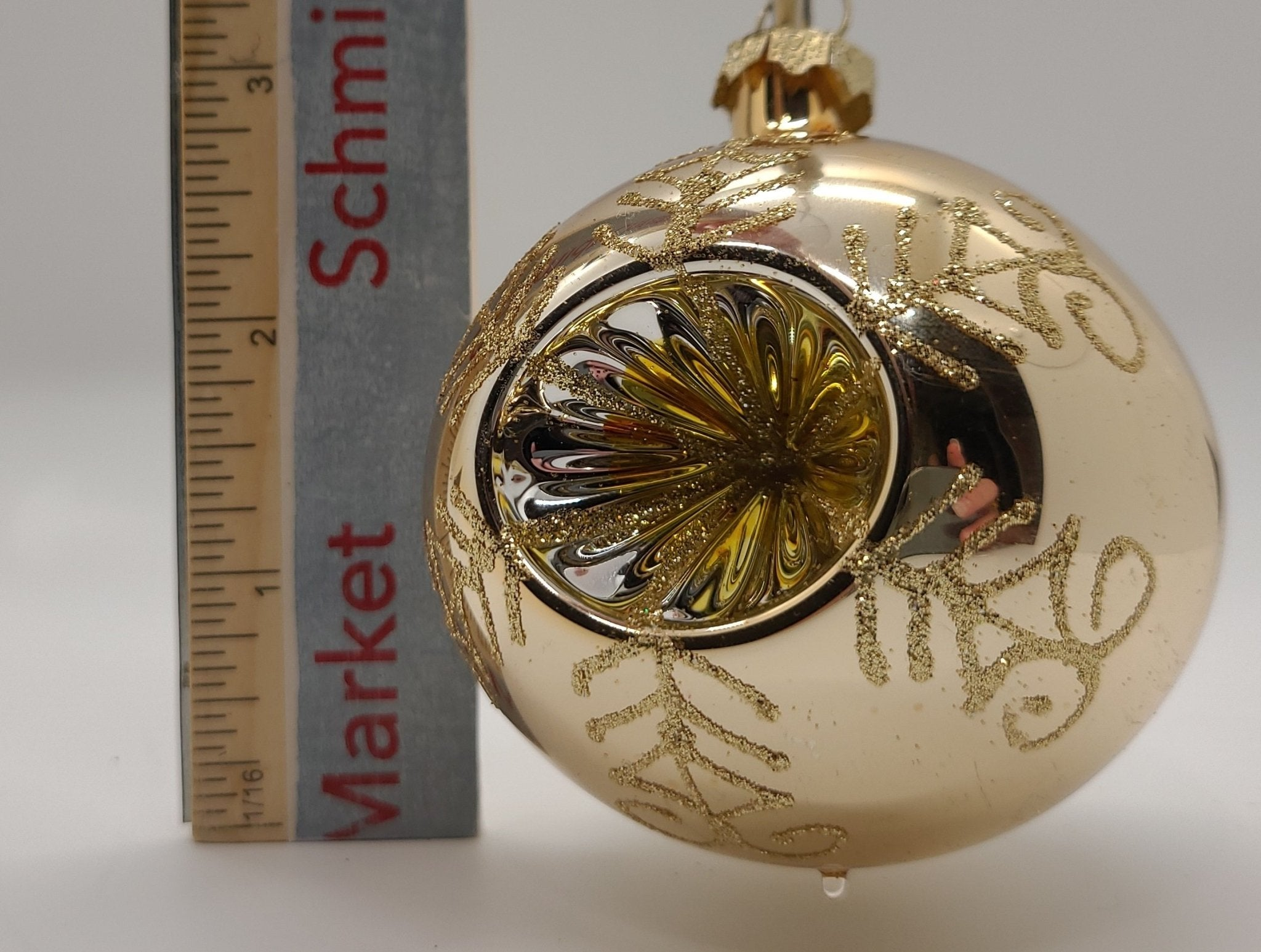 """Aztec Gold 2 5/8 """"Round Reflector with Gold Crown Caps Ornament - Schmidt Christmas Market Christmas Decoration"""