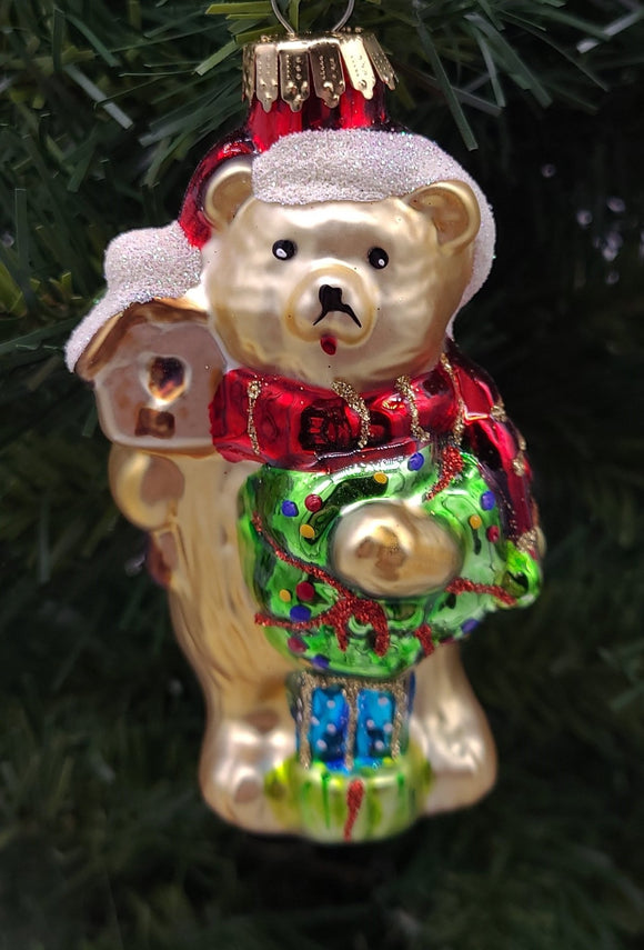 Bear With Wreath and Presents Glass Ornament - Schmidt Christmas Market Christmas Decoration