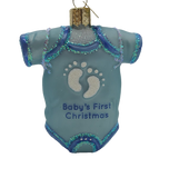Blown Glass Blue Baby Onesie Baby's First Christmas Ornament - Schmidt Christmas Market Dekorasyon ng Pasko