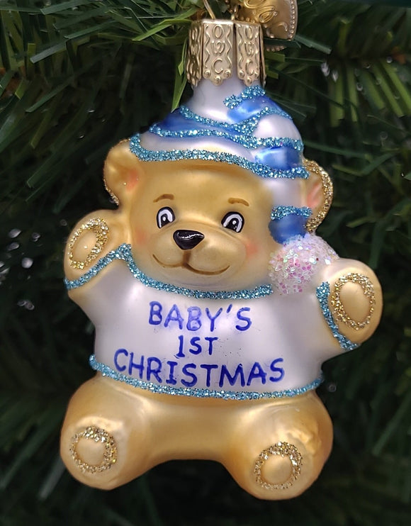 Blown Glass Blue Baby's First Teddy Bear Christmas Ornament - Schmidt Christmas Market Christmas Decoration