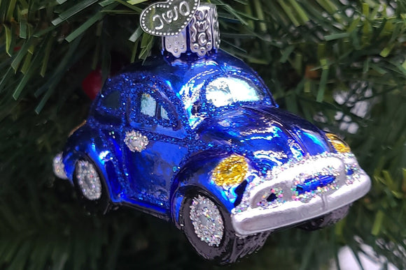 Blown Glass Blue Buggy Christmas Ornament - Schmidt Christmas Market Christmas Decoration