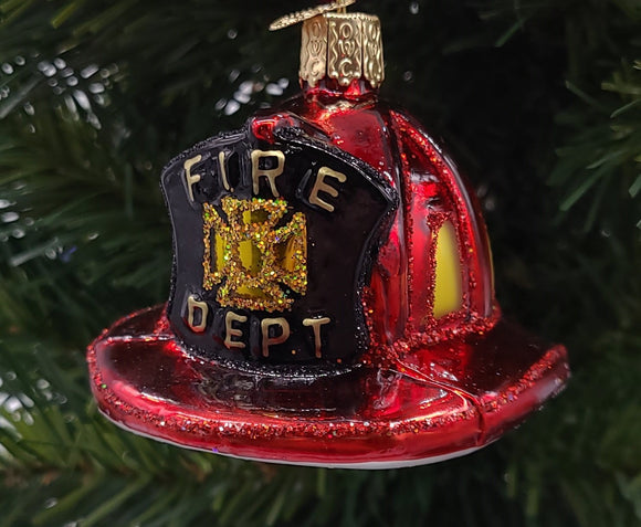 Blown Glass Fireman's Helmet Ornament - Schmidt Christmas Market Christmas Decoration