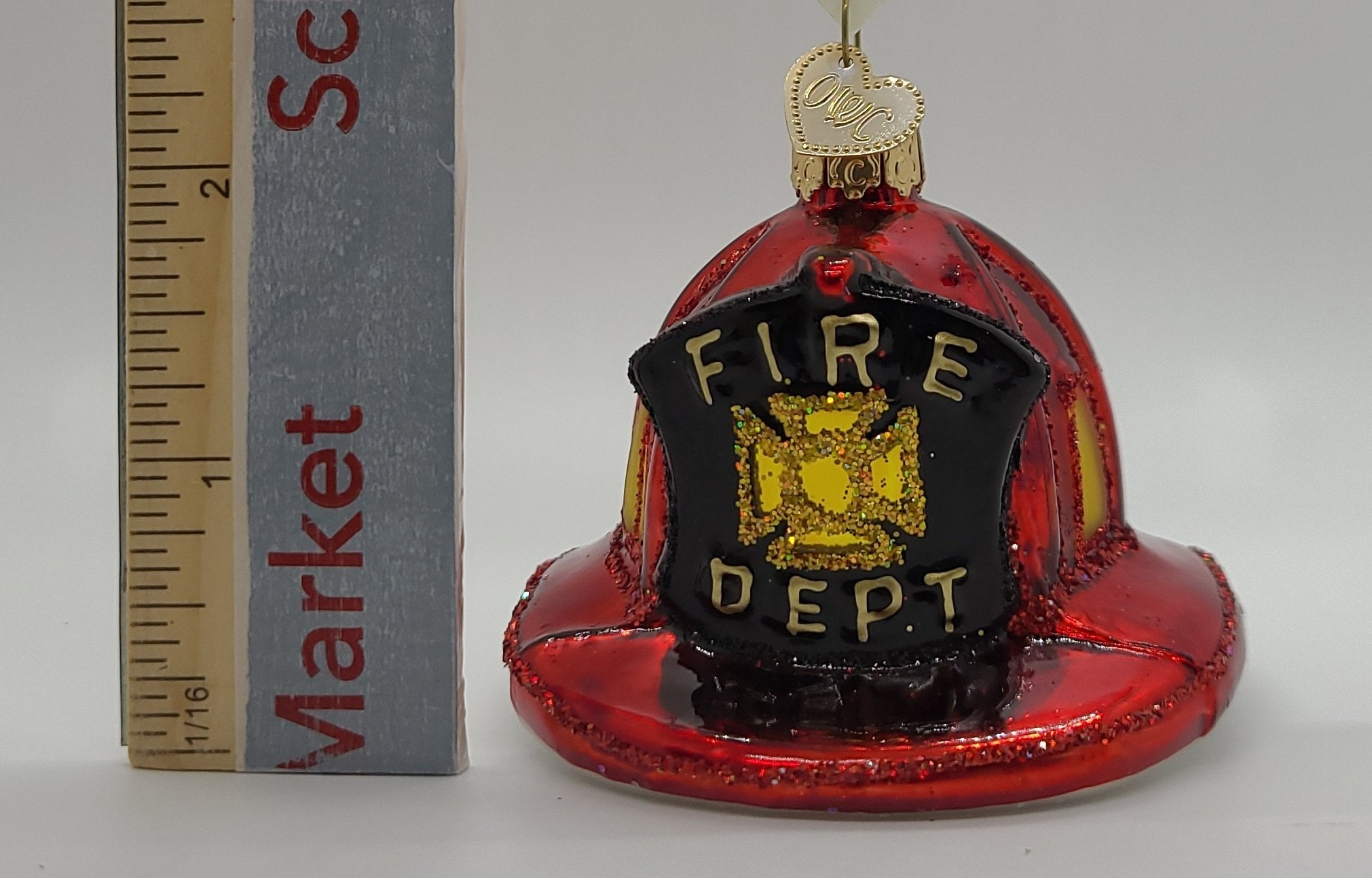 Blown Glass Fireman's Helmet Ornament - Schmidt Kersmark Kersversiering