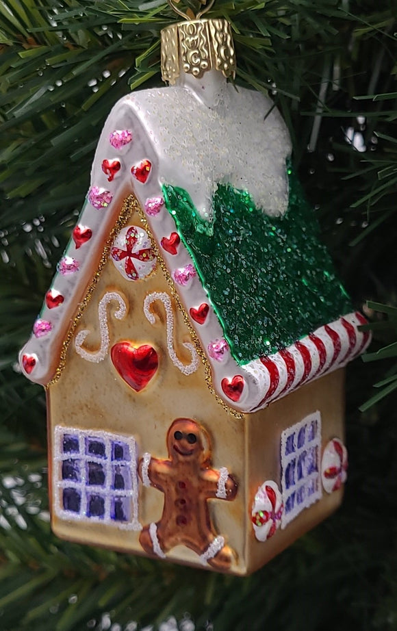 Blown Glass Gingerbread Cottage Christmas Ornament - Schmidt Christmas Market Christmas Decoration