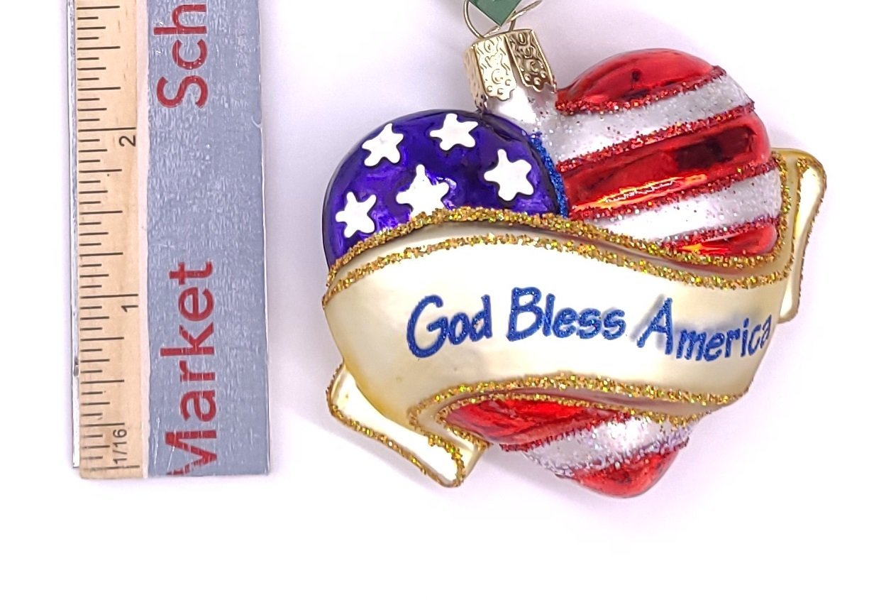 Blown Glass God Bless America Heart Christmas Ornament - Schmidt Christmas Market Christmas Decoration