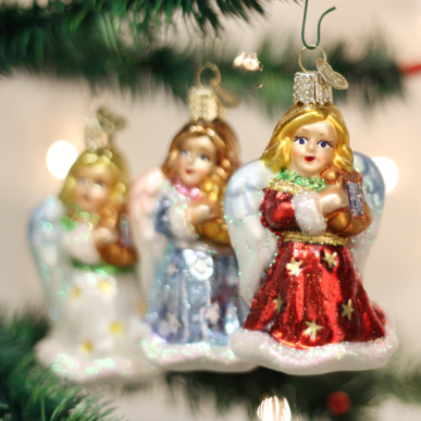 Blown Glass Hanging Angel with Lyre Christmas Ornament (set of 3) - Schmidt Christmas Market Christmas Decoration