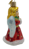 Blown Glass Hanging Angel with Lyre in Red Robes Christmas Ornament - Schmidt Christmas Market Christmas Decoration