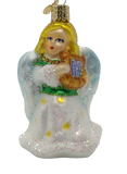 Blown Glass Hanging Angel with Lyre in White Robes Christmas Ornament - Schmidt Christmas Market Christmas Decoration
