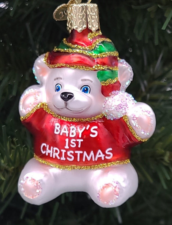 Blown Glass Hanging Baby's 1st Christmas Ornament - Schmidt Christmas Market Christmas Decoration