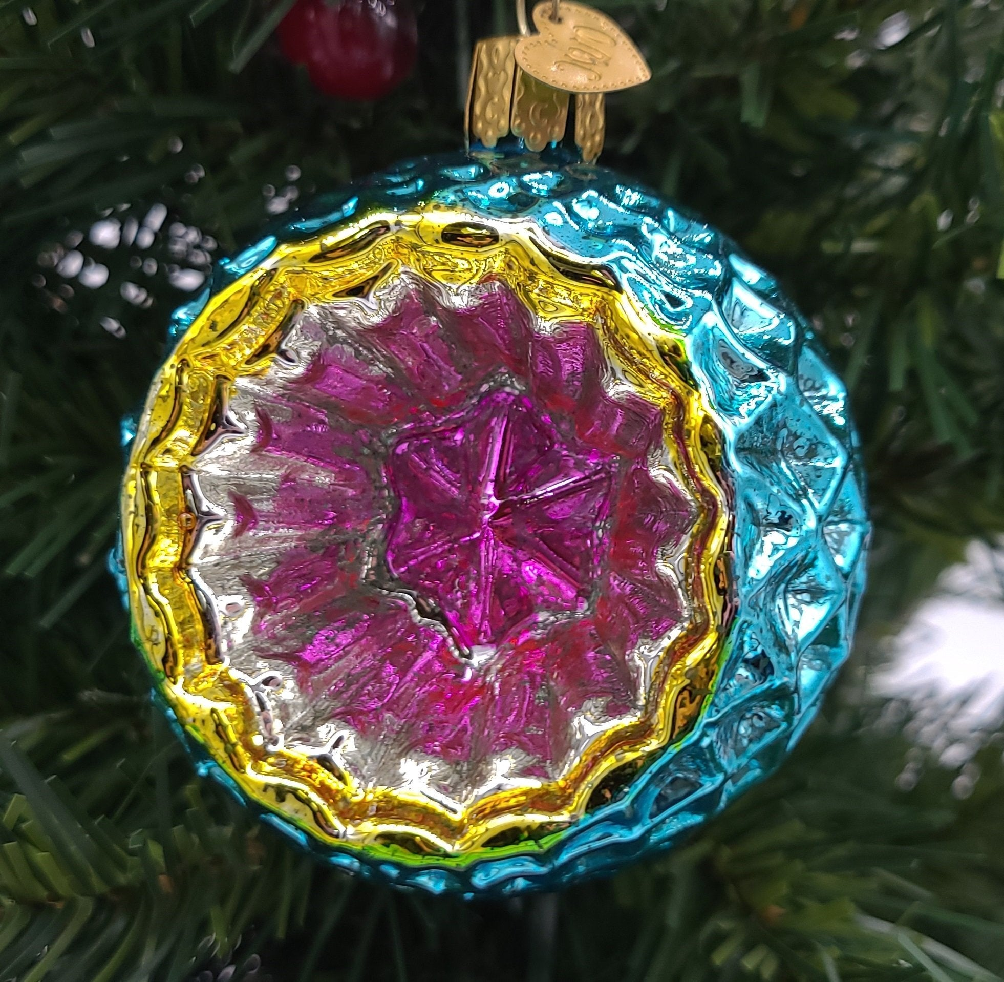 Blown Glass Hanging Faceted Sky Reflection Christmas Ornament - Schmidt Christmas Market Christmas Decoration