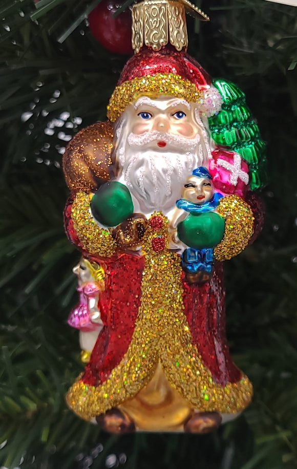 Blown Glass hanging Father Christmas with gifts Christmas Ornament - Schmidt Christmas Market Christmas Decoration