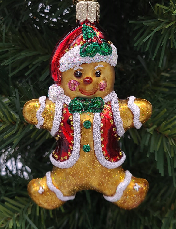 Blown Glass Hanging Gingerbread Boy Christmas Ornament - Schmidt Christmas Market Christmas Decoration
