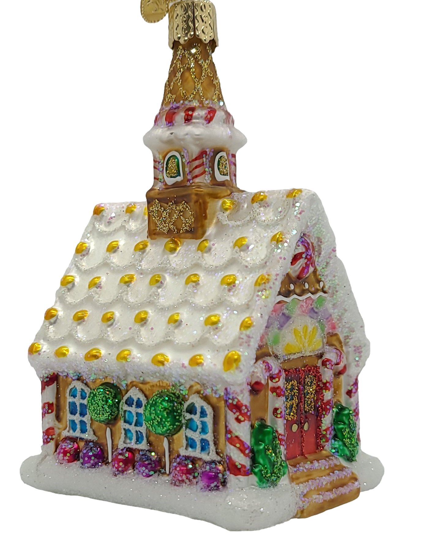 Blown Glass Hanging Gingerbread Church Christmas Ornament - Schmidt Christmas Market Christmas Decoration