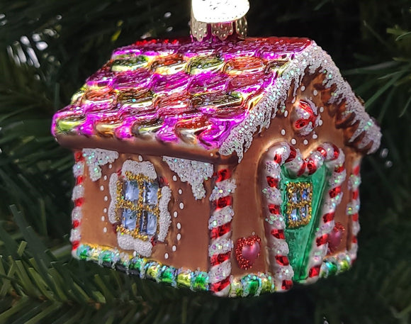 Blown Glass Hanging Gingerbread House Christmas Ornament - Schmidt Christmas Market Christmas Decoration