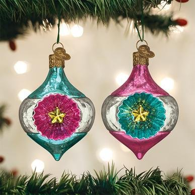 Blown Glass Hanging Gleaming Starlight Reflection Christmas Ornament Set of 2 - Schmidt Christmas Market Christmas Decoration