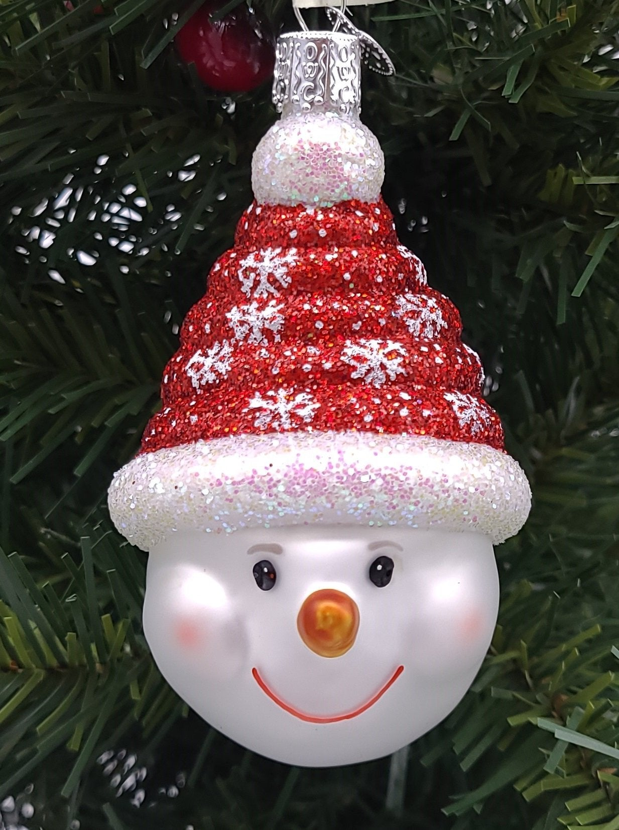 Blown Glass Hanging Glistening Candy Coil Snowman Christmas Ornament - Schmidt Christmas Market Christmas Decoration
