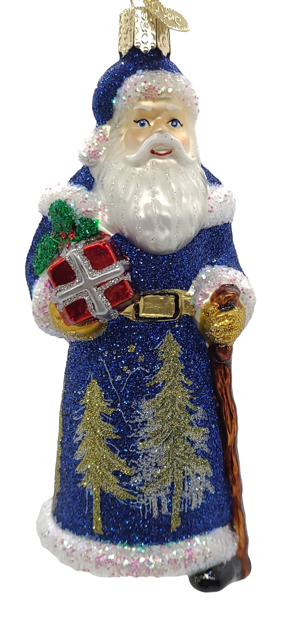 Blown Glass Hanging Glistening Midnight Santa Christmas Ornament - Schmidt Christmas Market Christmas Decoration