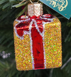 Blown Glass Hanging Gold Gift Box with Red Ribbon Christmas Ornament - Schmidt Christmas Market Christmas Decoration