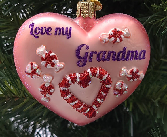 Blown Glass Hanging Grandma Heart Christmas Ornament - Schmidt Christmas Market Christmas Decoration