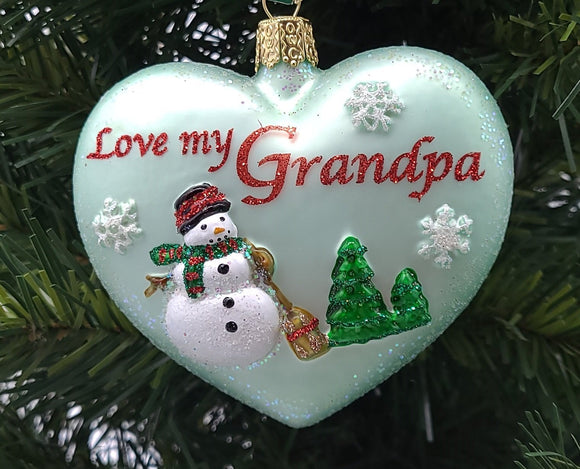 Blown Glass Hanging Grandpa Heart Christmas Ornament - Schmidt Christmas Market Christmas Decoration