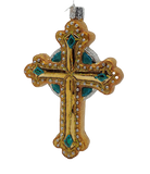 Gantung Kaca Gantung Jeweled Cross Green Accents Natal Ornament - Dekorasi Natal Natal Schmidt