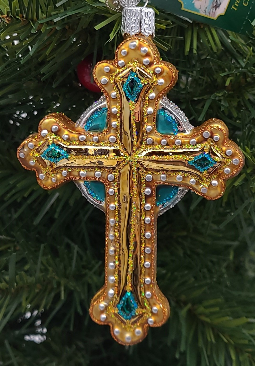 Blown Glass Hanging Jeweled Cross Green Accents Christmas Ornament - Schmidt Christmas Market Christmas Decoration