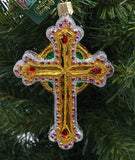 Blown Glass Hanging Jeweled Cross Red Accents Christmas Ornament - Schmidt Christmas Market Christmas Decoration