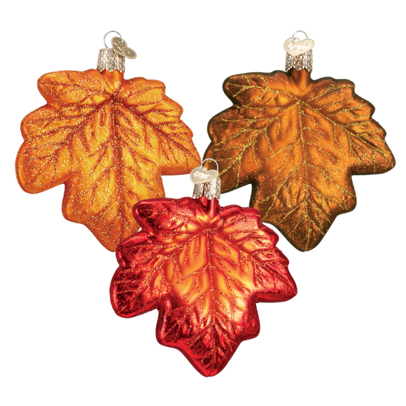 Blown Glass Hanging Maple Leaf Christmas Ornament Set of 3 - Schmidt Christmas Market Christmas Decoration