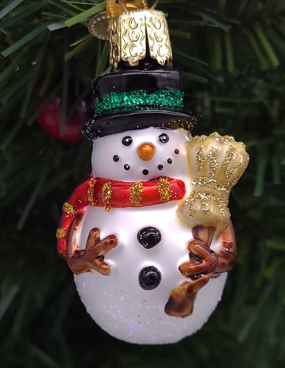Blown Glass Hanging Miniature Mr. Snowy Green Stripe Christmas Ornament - Schmidt Christmas Market Christmas Decoration