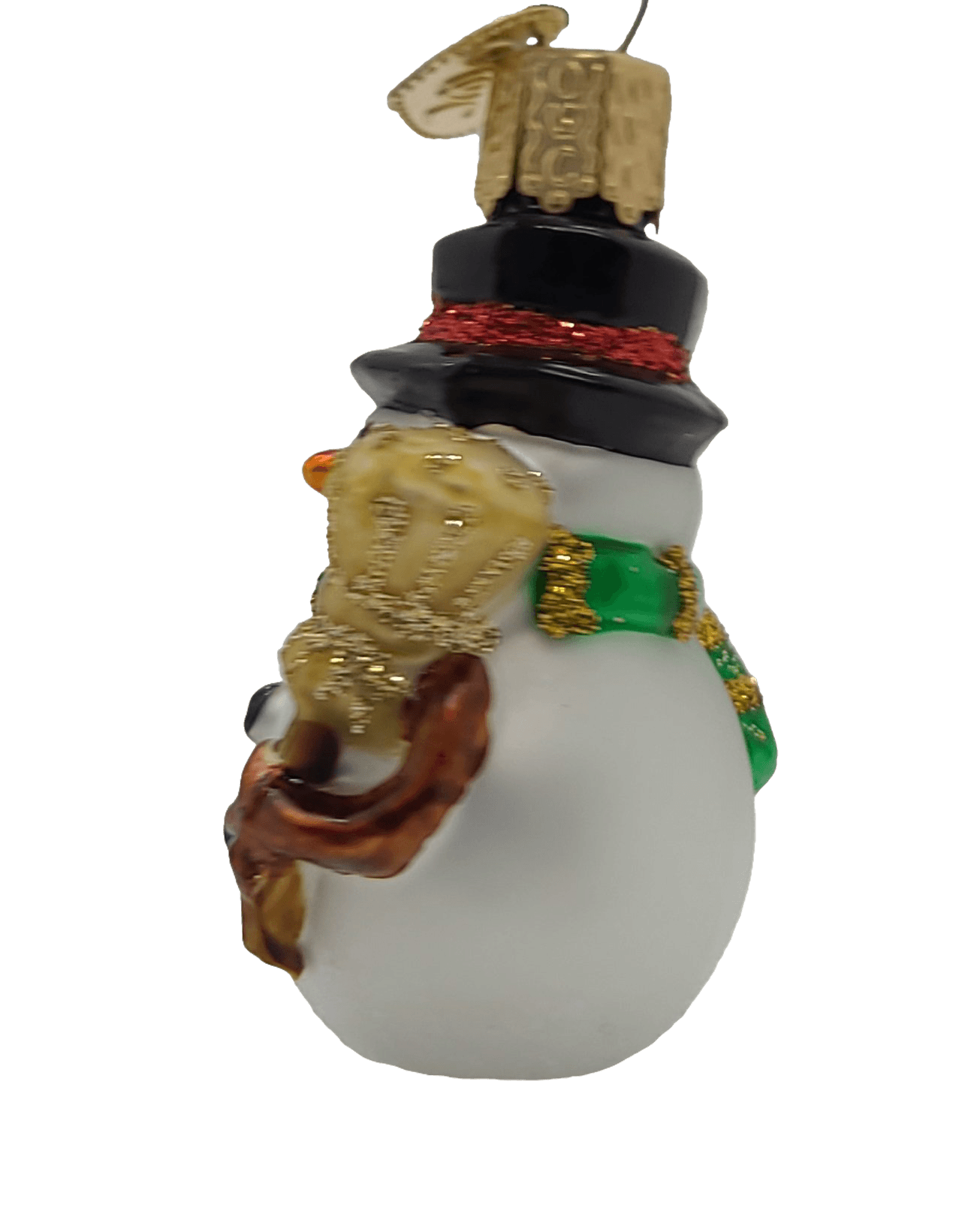 Blown Glass Hanging Miniature Mr. Snowy Red Stripe Christmas Ornament - Schmidt Christmas Market Christmas Decoration